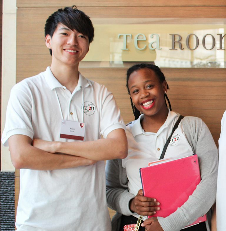 Student staff in front of a tea room